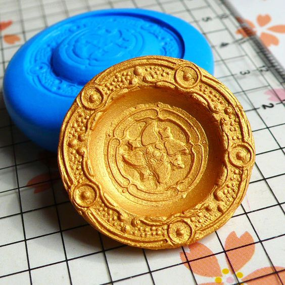 Dollhouse Mold Round Plate Mold 26mm Flexible Silicone Mold Miniature Deco Polymer Clay Fimo DIY Kawaii Cabochon Charms Push Mold MD555 by MiniatureSweet on Etsy https://www.etsy.com/listing/73235504/dollhouse-mold-round-plate-mold-26mm