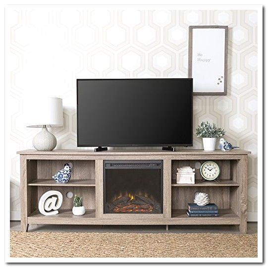 We Furniture 70 Wood Fireplace Tv Stand Console Driftwood Fireplace Tv Stand Fireplace Tv Tv Stand Wood