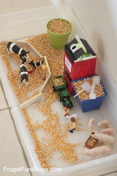 Wahrnehmungsspiel mit Maiskörner zum Thema Bauernhof für Kindergarten-Kinder
