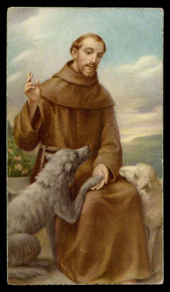 ST FRANCIS OF ASSISI & THE WOLF, LAMB Vtg dat.1962 HOLY CARD picclick.com