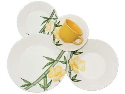 Aparelho de Jantar Tropical 20 Peças - em Cerâmica - Biona Cerâmica com as melhores condições você encontra no Magazine Gatapreta. Confira!
