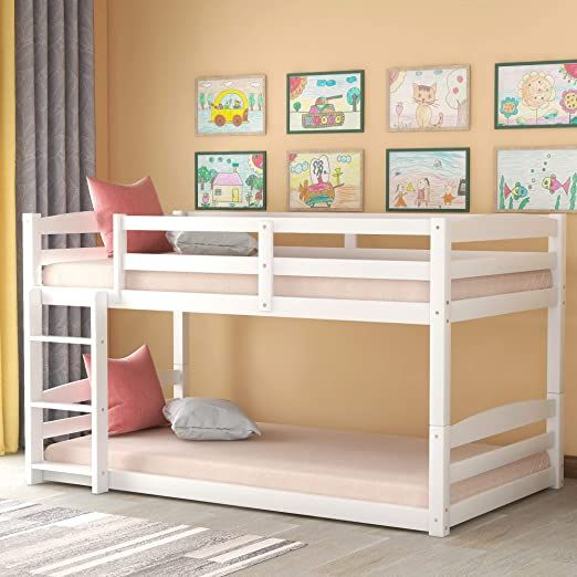 DERCASS Converable Wood Floor Bunk Bed with Detachable Guardrails &  Ladder,Slat Kit Support, No Box Spring Need… | Low bunk beds, Wood bunk  beds, Twin bunk beds