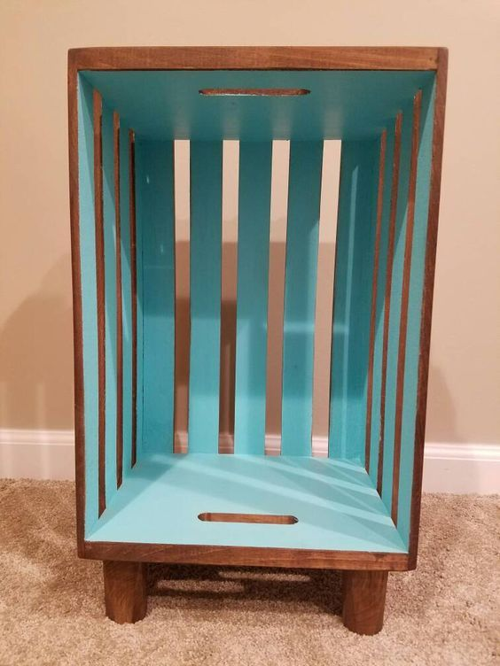 Stained Wood Crate Nightstand With Interior Accent Wooden Crates Nightstand Crate Nightstand Crate Furniture