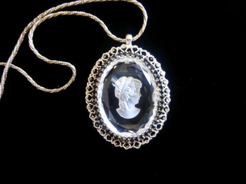 VINTAGE WARNER GLASS CAMEO SILVER BLACK RHINESTONES PENDANT NECKLACE & EARRINGS http://r.ebay.com/xqWNSx