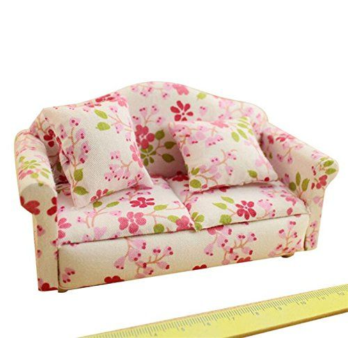 1:12 Dollhouse Miniature Pink Sofa Simulation Furniture Supplies Ornaments