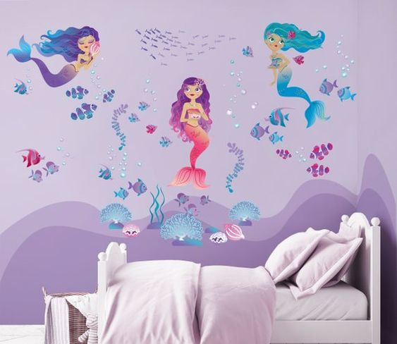 Mermaids Repositionable Fabric Wall Decal for Nursery or Girl's Room, Eco Friendly Sticker, Mermaid Girl's Room Decor, Underwater Decal