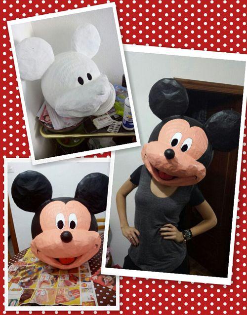 Te enseño el paso a paso para hacer una cabeza de papel maché para un disfraz casero de Mickey Mouse y Minnie Mouse.