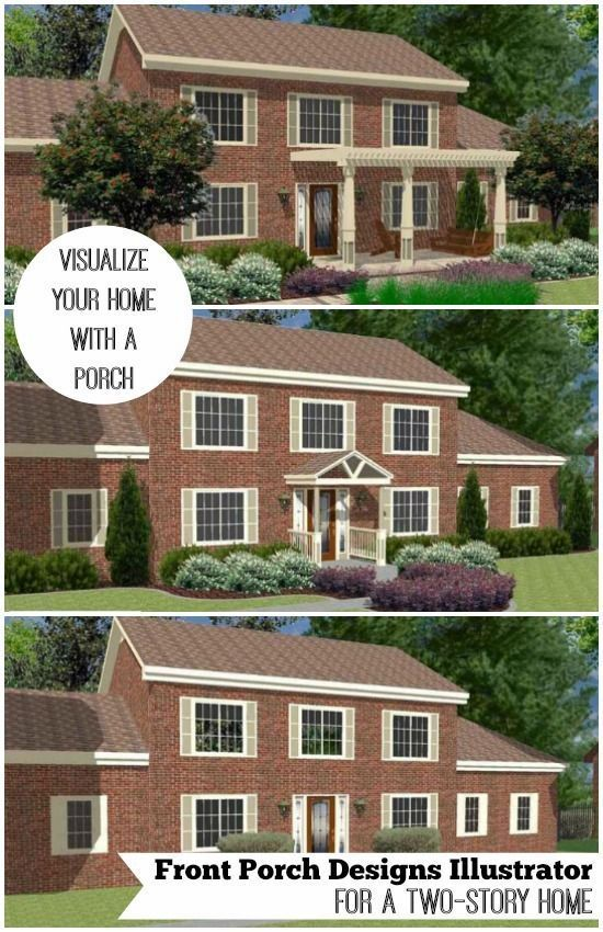Great Front Porch Designs Illustrator On A Two Story Home In 2020