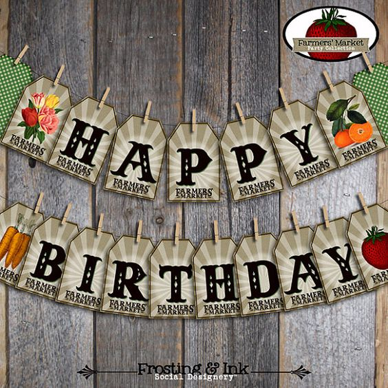Farmers' Market Party - Birthday Banner