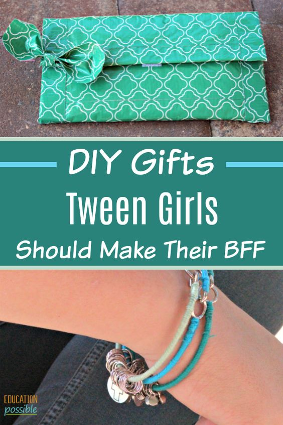 Looking for crafts for teens to make? They'll love these 6 DIY middle school crafts. They can make these gifts to give at the holidays, to celebrate a friend's birthday, or just to show that they care. These 6 fun, yet simple projects were chosen and made by my tween for herself and her BFF. Each one requires few materials and little time. Your teen will love them. Her favorite is the duct tape clutch! #diy #teencrafts #tweens #diysforteens #educationpossible