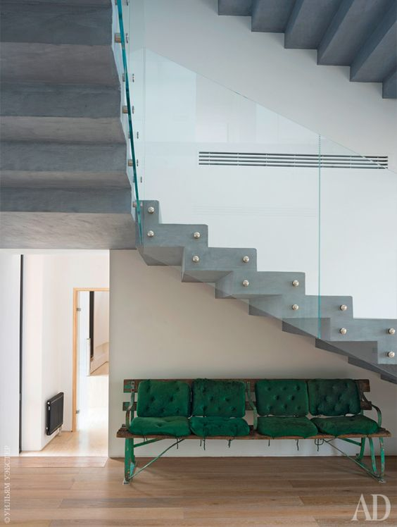 Contemporary entry and stairs