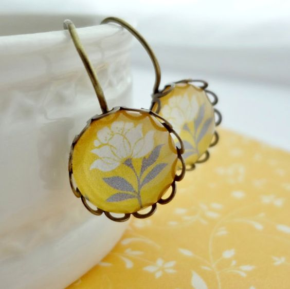 Entire Shop 15 Off Sale Yellow Flower Dangle or by WearitoutJewelz