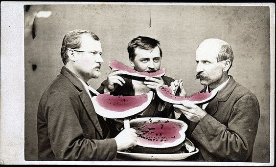 Three Men Eating Watermelon Carte de Visite: