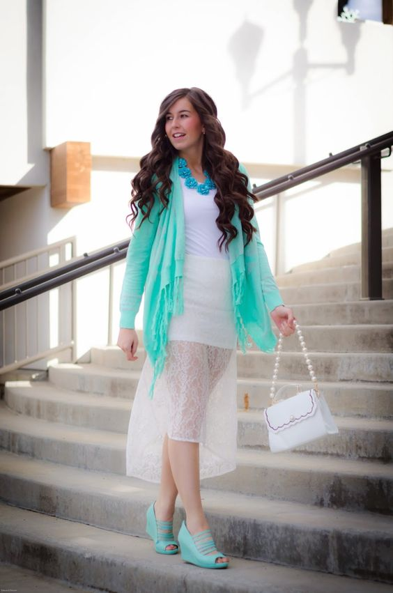 ourworldboutique, our world boutique, floral necklace, mint cardigan, white lace dress, white lace skirt, lace skirt, pretty wear, going out...