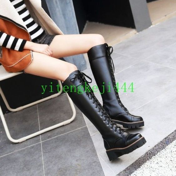 Women'S Gothic Knee High Long Boots  Lace Up Platform Combat Military Boots