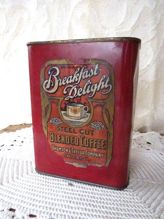 Thomson & Taylor Coffee Tin Breakfast by BonniesVintageAttic, $45.00