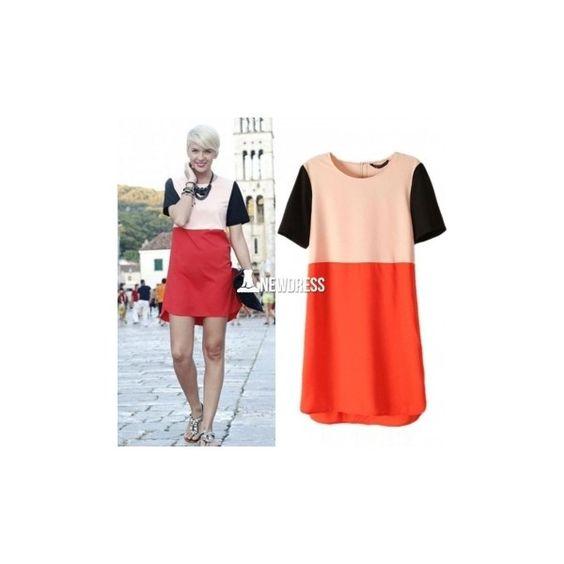 Women O Neck Short Sleeve Apricot Orange Contrast Patchwork Split Hem... (46 HKD) via Polyvore
