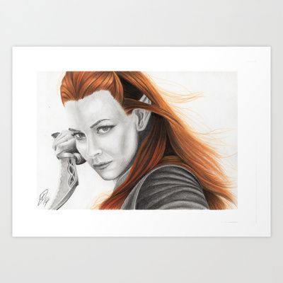 Tauriel, Elf  Art Print by Art By Warren. Graphite and Colour Pencil.