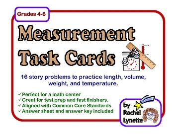 Here are 16 measurement story problem cards to use with your students. These cards focus primarily on length, volume, weight, and temperature. They...