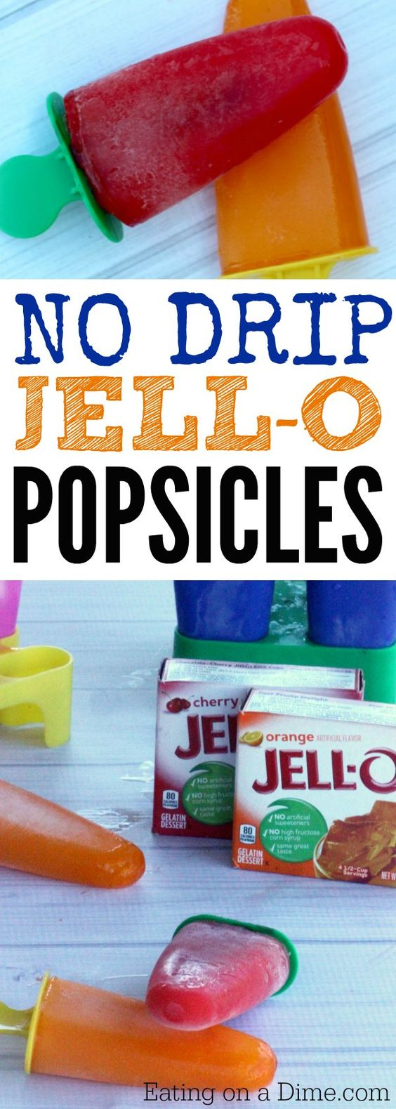Easy to make jell-o popsicles. How to make popsicles easily with Jell-O. These homemade popsicles are delicious and they do not drip! The best DIY Popsicles