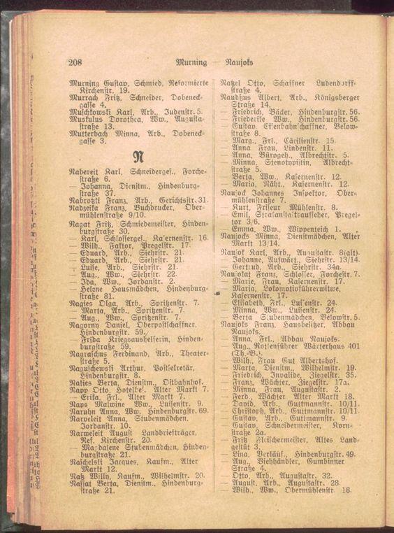 Adressbuch für Insterburg, 1919, Инстербург, Черняховск