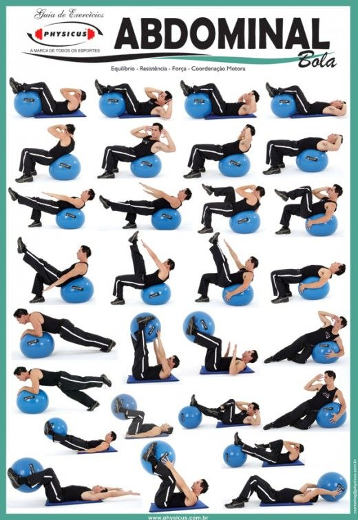 Assez Exercise Charts for Stability Ball (Balance Ball, Swiss Ball) and  QW53