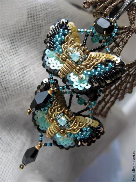 """Купить комплект""""бабочки"""" - серьги ручной работы, кольцо, бабочки, вышивка, вышитые украшения, шёлк натуральный"""