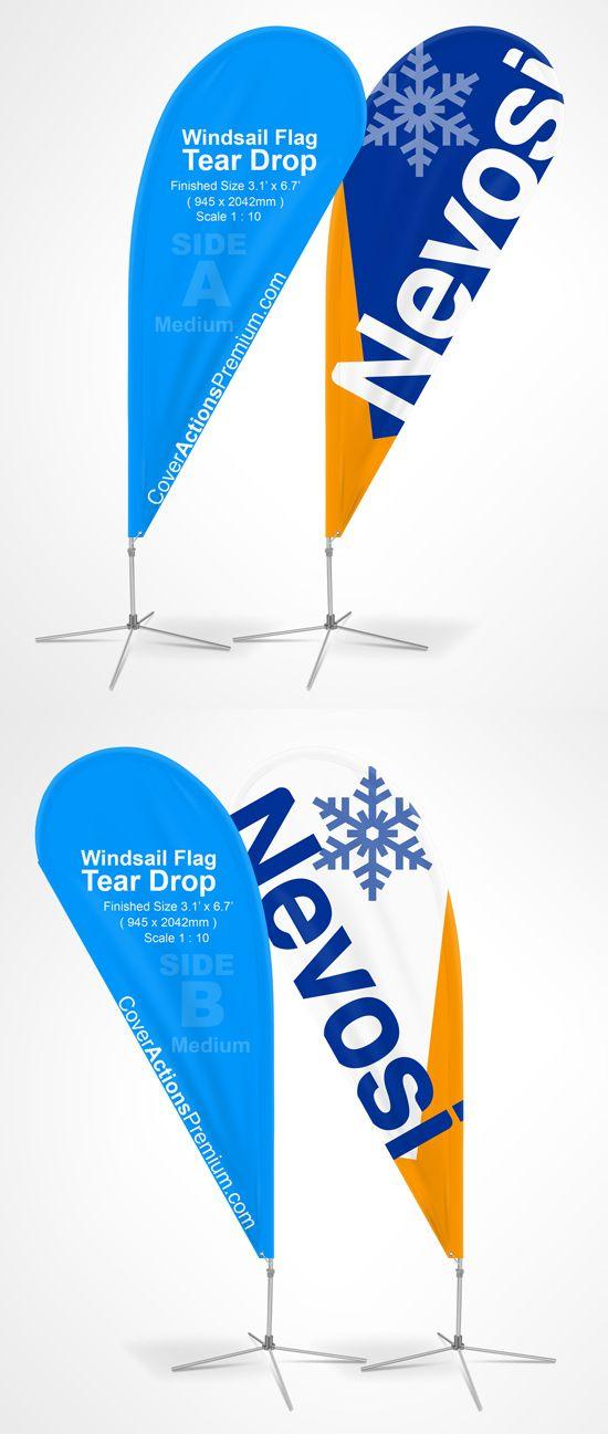 Teardrop Feather Flag Mockup Cover Actions Premium Mockup Psd Template Teardrop Banner Mockup Design Flag Template
