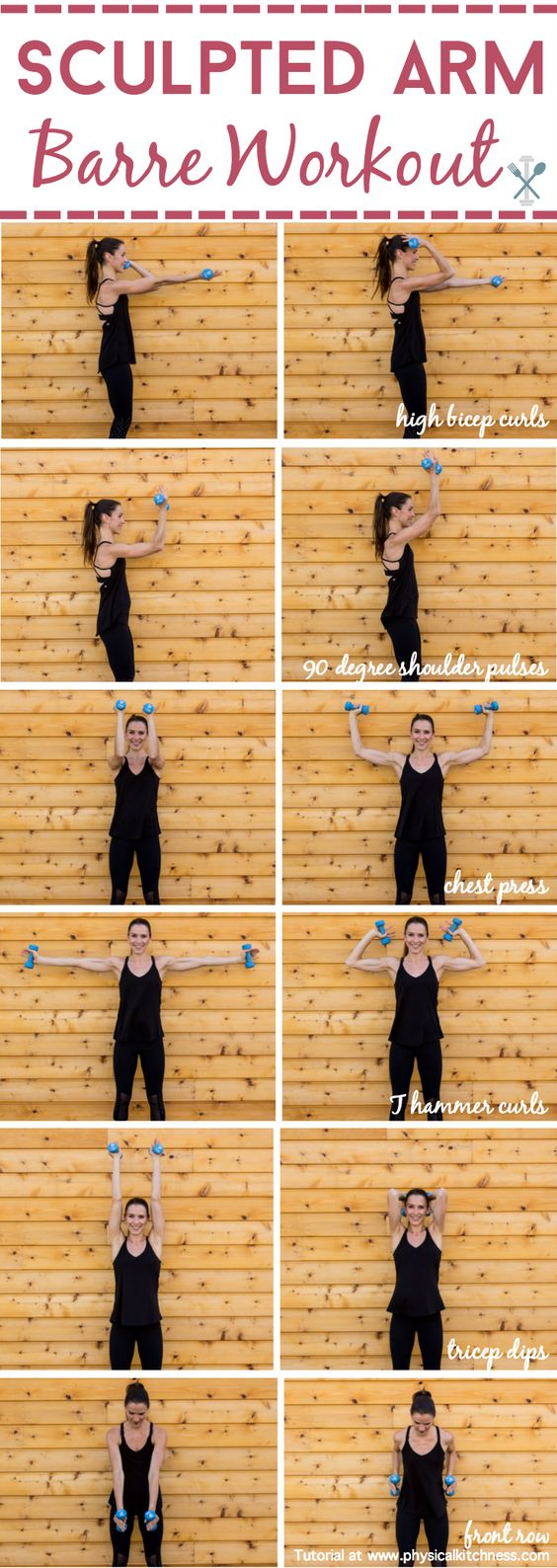 Sculpt and tone your arms in ways you never imagined with this barre inspired arm workout. Little movements with lots of repetition will work arm muscles in miraculous ways! Shaping your biceps, shoulders, and triceps. Home or gym workout!: