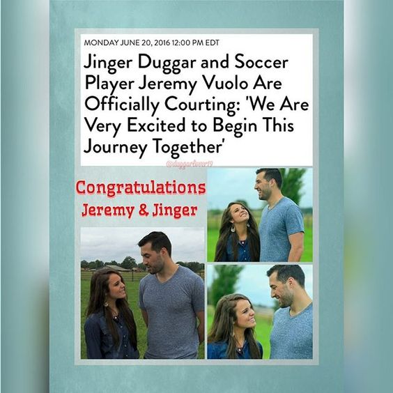 """There's an exciting new Duggar announcement! PEOPLE can exclusively reveal that Jinger Duggar, 22, and professional soccer player Jeremy Vuolo, 28, are officially courting – and their courtship will be a big part of the new season of Counting On when it returns to TLClater this summer. Of their courtship – the Duggar-approved way of dating that has couples getting to know each other as a preparation for marriage – Jinger tells PEOPLE she met Vuolo last May. The two then """"had the opportuni..."""