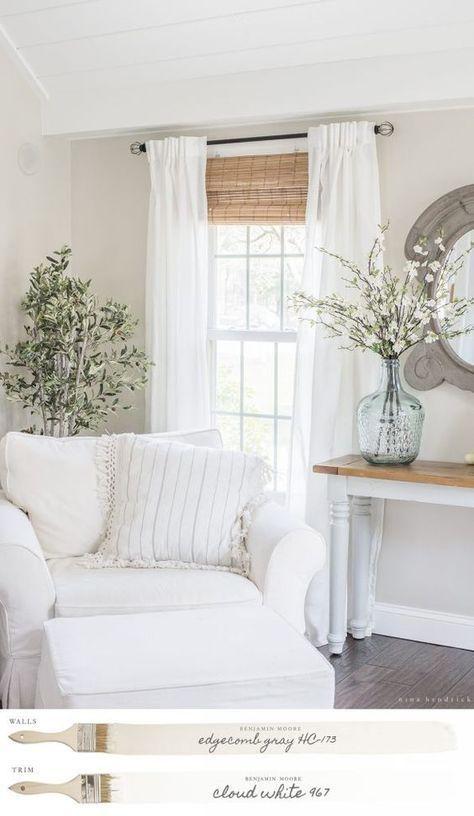 New England Farmhouse Neutral Paint Color Scheme | Edgecomb Gray Family Room #familyroomdesignpaintcolours
