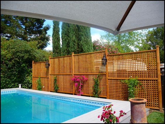 Pools inside out and why not on pinterest for Pool privacy screen
