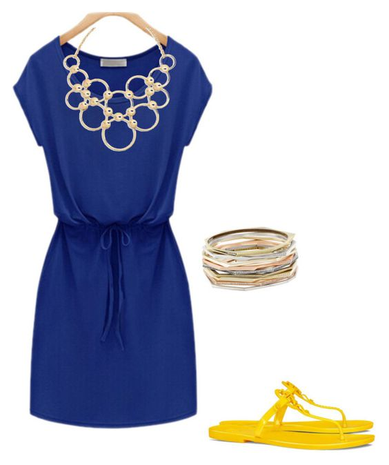 """""""Blue and Gold"""" by techyrn on Polyvore featuring Tory Burch, Vera Bradley and Kendra Scott"""