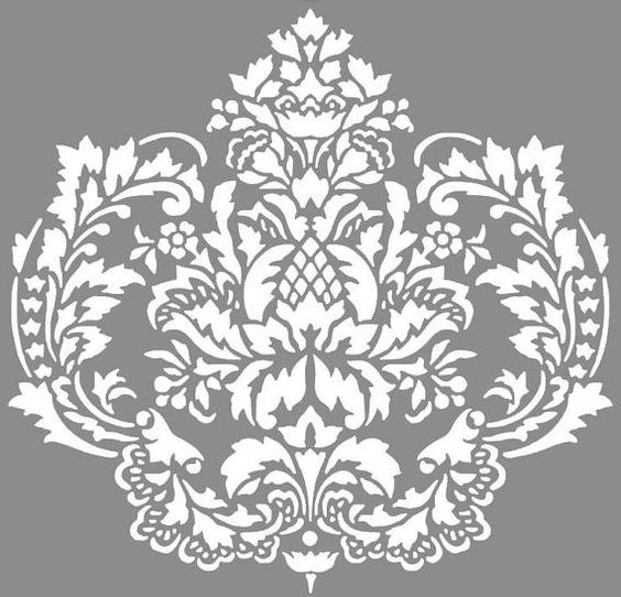 Vinyl DAMASK decal Large 19.75 x 19 wall decal (24.00) or Vinyl DAMASK Wall Decal Medium 12.5 x13 (16.00) or Small 8.75 x 8.5 (9.00)