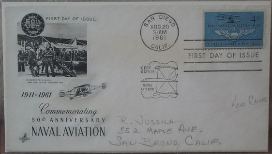 NAVAL AVIATION 50th Anniversary 1961 First Day Of Issue Cover 4 Cent Stamp