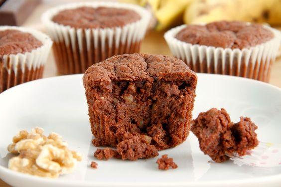 Brownie muffins de nueces y plátano. Són gluten - MisThermorecetas
