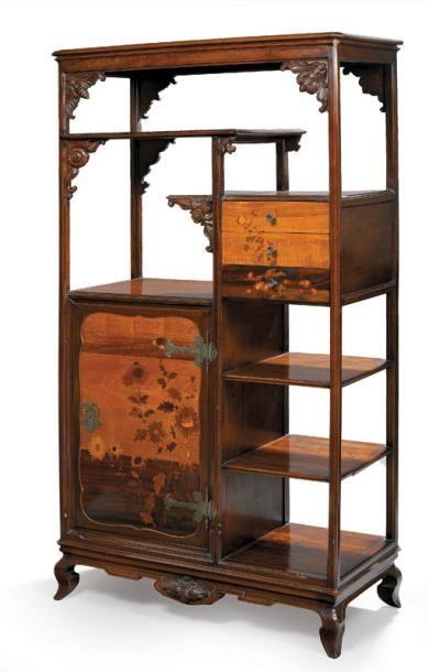 Emile galle 1846 1904 papillons et escargot meuble tag re art nouveau en bois teint - Art nouveau meuble ...
