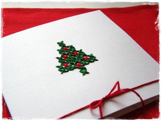 Weihnachtskarte mit Kreuzstich |