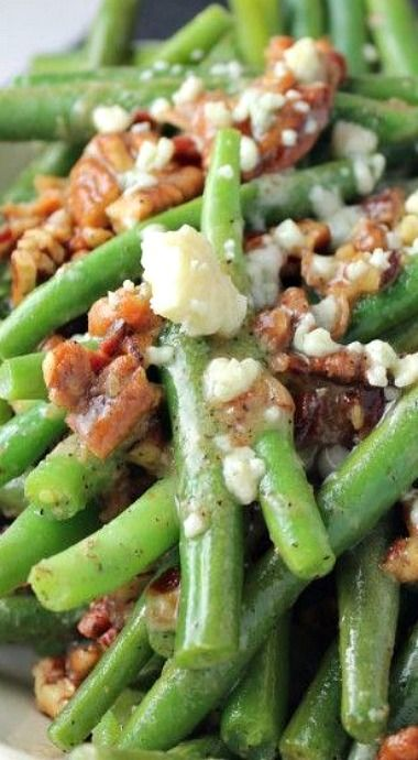 Pecan, Bacon and Blue Cheese Green Beans. Made this for Thanksgiving instead of traditional green bean casserole. It was SO good! Even leftover.