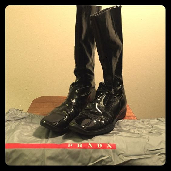 prada shopping tessuto saffiano tote bag - Authentic Prada Black Patent Leather Rain Boots | Prada Shoes ...