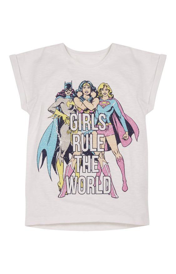 Primark - Girls Rule The World Superhero T-Shirt Batgirl Supergirl Wonder Woman