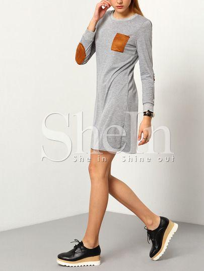 Round Neck Patch Pocket Straight Dress -SheIn(Sheinside) Mobile Site