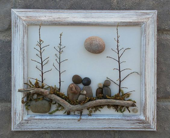 "Pebble Art Family of Five sitting on a log under trees and sun in an 8x10 ""open"" wood frame (FREE SHIPPING)"