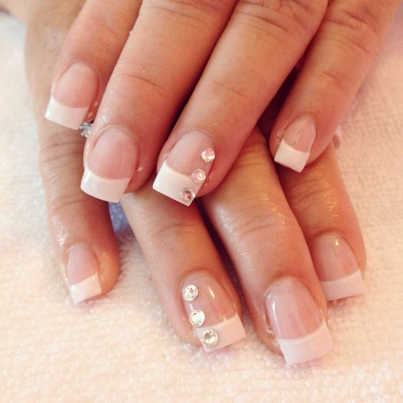 Classic clean French manicure sculpted gel nails