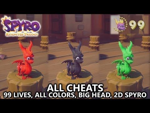 Spyro Reignited All Cheats 99 Lives All Colors Big Head Mode 2d Spyro Youtube All The Colors Spyro And Cynder Color
