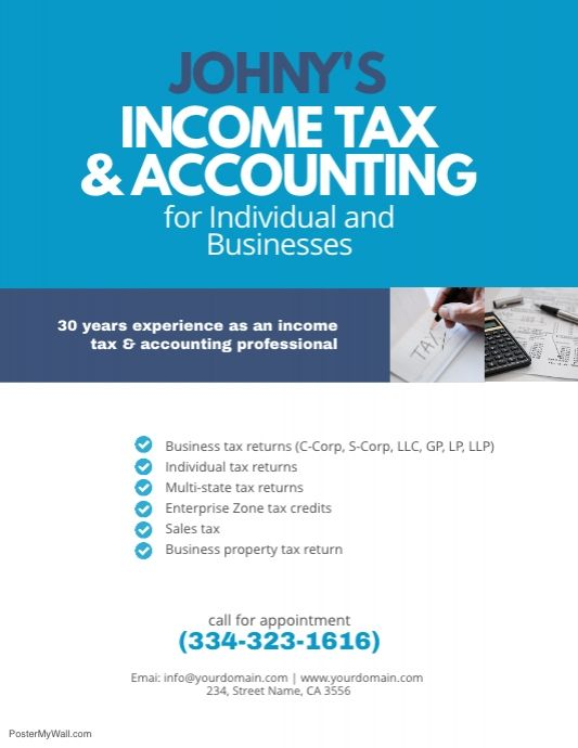 Income Tax Accounting Flyer Template Flyer Template Accounting Free Letterhead Templates