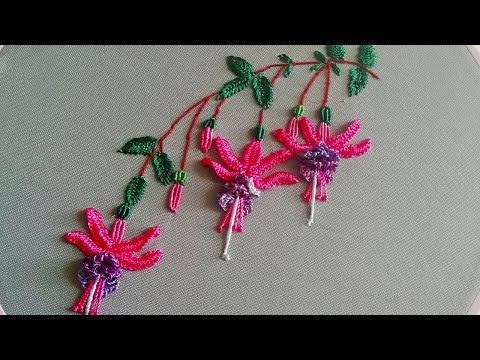Amazing Embroidery How To Embroider Fuchsia Brazilian Flower Embroidery Mal Hand Embroidery Patterns Flowers Embroidery Flowers Pattern Embroidery Flowers