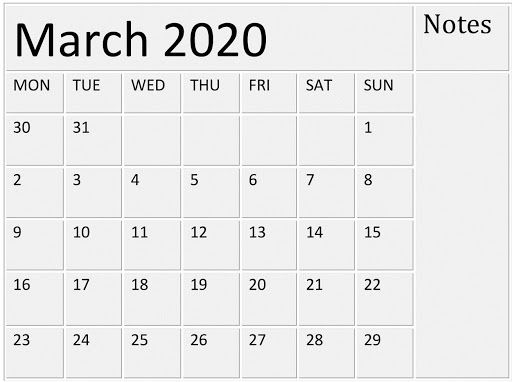 Lunar Calendar For March 2020 Printable Holidays Blank Template In