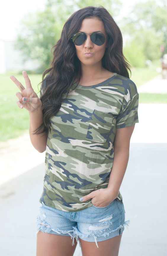 Camo is life, and so is this tee! #shopalbpeoria #camo #camotee