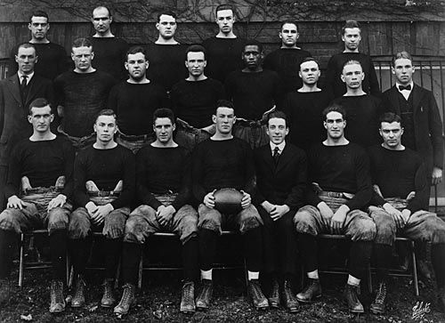 Rutgers University and its neighbor, Princeton, played the first game of intercollegiate football on Nov. Description from scarletknights.com. I searched for this on bing.com/images